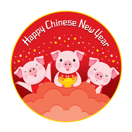 Red Circle Frame Of Happy Chinese New Year With Three Pigs, Traditional, Celebration, China, Culture