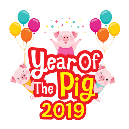 Happy Chinese New Year 2019 Texts With Pigs, Traditional, Celebration, China, Culture