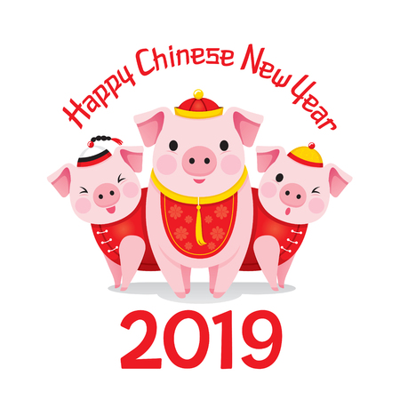 Happy Chinese New Year 2019 And Three Pigs With Chinese Clothing, Traditional, Celebration, China, Culture Stock Illustratie