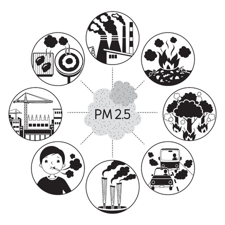 Cause Of Dust PM2.5 Air Pollution Icons, Monochrome, Respiratory, Environment, Health, Breath Stock Illustratie
