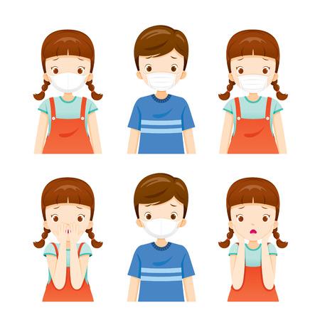 Set di una ragazza e un ragazzo che indossano la maschera per l'inquinamento atmosferico per proteggere la polvere PM2.5, PM10, fumo, smog, vie respiratorie, ambiente, salute, respiro Vettoriali