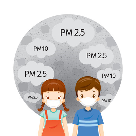 Girl And Boy Wearing Air Pollution Mask For Protect Dust PM2.5, PM10, Smoke, Smog, Respiratory, Environment, Health, Breath