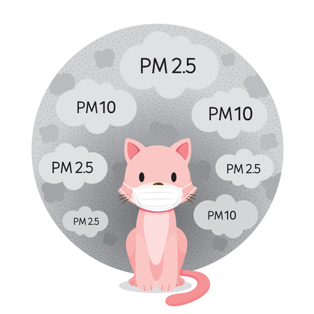 Cat Wearing Air Pollution Mask For Protect Dust PM2.5, PM10, Smoke, Smog, Respiratory, Environment, Health, Breath