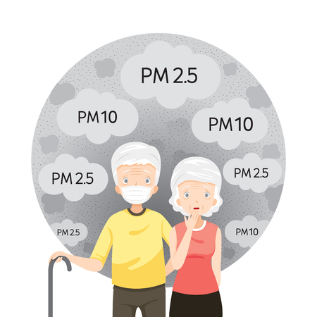 Old Man And Old Woman Wearing Air Pollution Mask For Protect Dust and pollution Stock Illustratie