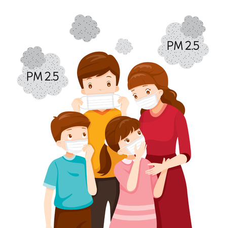 Parent And Child Wearing Air Pollution Mask For Protect Dust PM2.5, PM10, Smoke, Smog, Respiratory, Environment, Health, Breath
