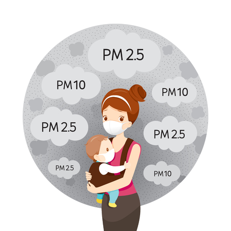 Mom And Baby Wearing Air Pollution Mask For Protect Dust  and pollution