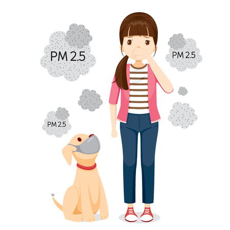Woman And Dog Wearing Air Pollution Mask For Protect Dust PM2.5, PM10, Smoke, Smog, Respiratory, Environment, Health, Breath Stock Illustratie