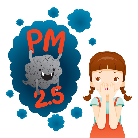 Girl Afraid Of Dust PM2.5 Character, Cartoon, Smoke, Smog, Respiratory, Environment, Health, Breath Stock Illustratie