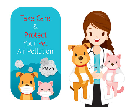 Female Veterinarian Carrying Dog And Cat In Her Arms, Banner Of Dog And Cat Wearing Air Pollution Mask For Protect Dust PM2.5, Respiratory, Environment, Health, Breath, Animal, Physical