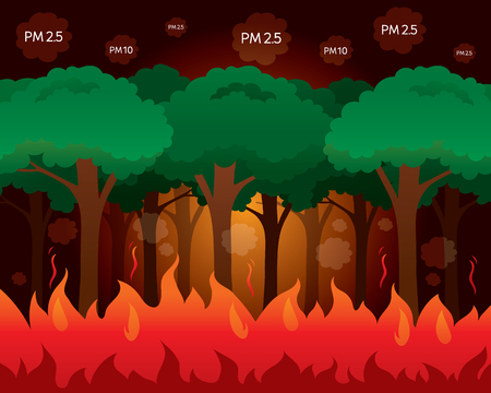 Severe Wildfire, Bad Air Pollution For Organism In The World, Cause Of Dust PM2.5, PM10, Smoke, Smog, Respiratory, Environment, Organism, Health, Breath, Animal, Physical