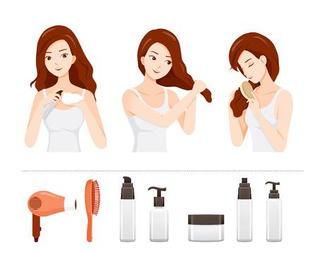Conjunto de cuidado y tratamiento de la mujer su cabello con objetos de tratamiento capilar, nutritiva, belleza, moda, peinado, cuero cabelludo