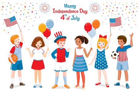 American Children Celebrating 4th Of July Independence Day, Holding Flags, Wearing Uncle Sam Hat Stock Illustratie
