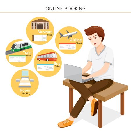 Man Buying Online Tickets, Bus, Train, Airplane, Room, Museum On Computer Notebook, Voyage, Vacationing Stock Illustratie