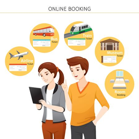 Man And Woman Buying Online Tickets, Bus, Train, Airplane, Room, Museum On Computer Tablet, Voyage, Vacationing