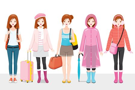 Set Of Woman Clothing Wearing In Different Seasons, Voyage, Vacationing Stock Illustratie