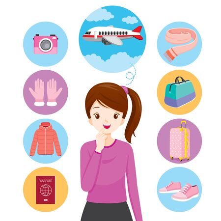 Woman With Icons Of Clothes And Necessities For Travel, Voyage, Vacationing