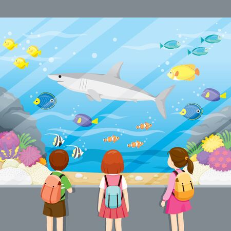 At Aquarium, Children Looking At Shark  And Fishes Swimming, Animal, Field Trip, Educational Tour, Travel
