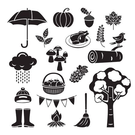 Autumn Objects Set, Monochrome, Nature, Season, Weather, Symbol, Kids, Activity