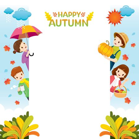 Autumn Season Frame With Happy Children, Nature, Season, Weather, Symbol, Kids, Activity  Stock Illustratie