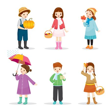 Set Of Children Wearing Different Clothes For Autumn Season, Nature, Season, Weather, Symbol, Kids, Activity