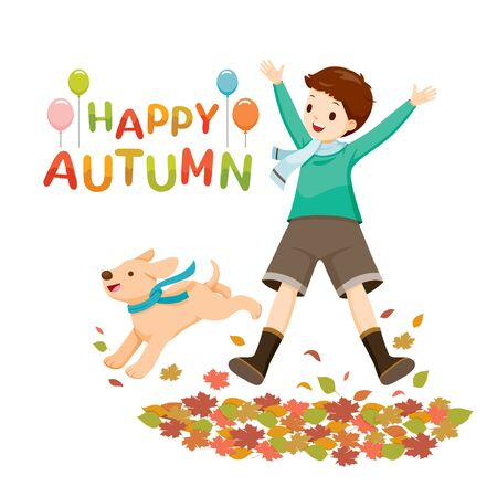 Happy Boy Jumping And Raising Hands With Dog In Autumn Season, Nature, Season, Weather, Symbol, Kids, Activity  Stock Illustratie