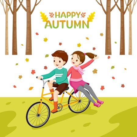 Boy Riding And Girl Pillion Bicycle In Autumn Season, Activity, Vacations, Holiday, Travel, Trips, Transportation, Lifestyle, Sightseeing