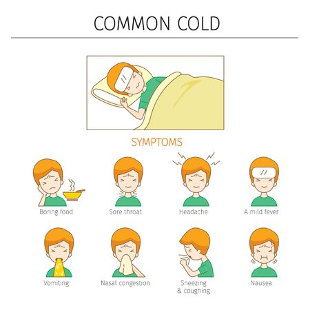 Man With Common Cold Symptoms Outline, Color Icons Set, Infection, Sickness, Healthy 스톡 콘텐츠 - 131750653