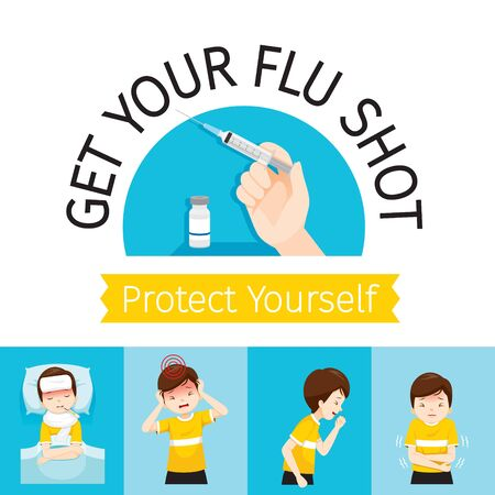Sign Of Get Your Flu Shot, Injecting Flu Vaccine, Man With Influenza Symptoms, Influenza, Injection, Vaccination, Immunity, Protection, Prevention, Healthy Stock Illustratie