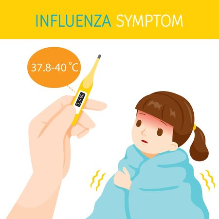 Girl With Influenza Symptoms With High Body Temperature, Flu, Vaccination, Infection, Sickness, Healthy Иллюстрация