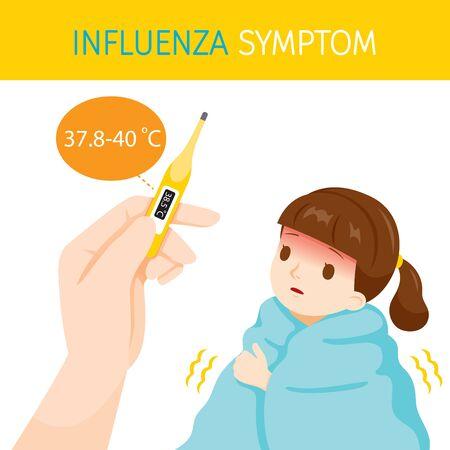 Meisje met griepsymptomen met hoge lichaamstemperatuur, griep, vaccinatie, infectie, ziekte, gezond