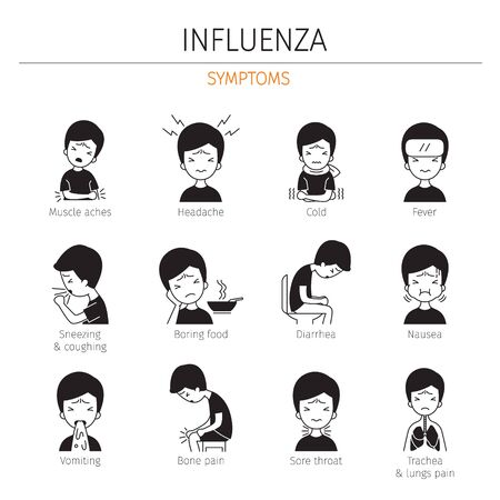 Man With Influenza Symptoms Monochrome Icons Set, Flu, Infection, Sickness, Healthy