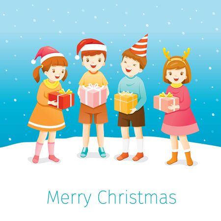 Christmas Celebration, Children Happy With Gifts Box, Standing Together In Snow, Xmas, Happy New Year, Festive