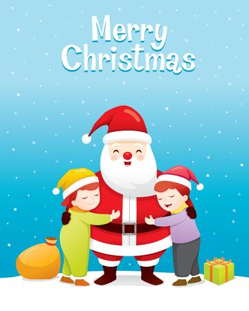 Christmas Celebration, Children Hugging Santa Claus, Xmas, Happy New Year, Festive