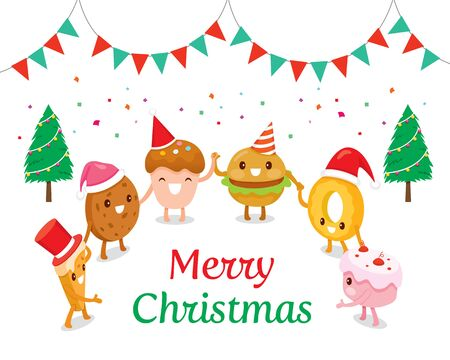 Fun Desserts Cartoon Character In Christmas Party, Food, Sweets, Festive, Celebrations, Happy New Year Stock Illustratie