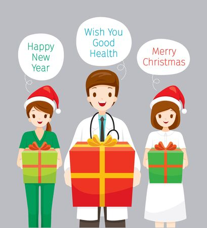 Doctor And Nurse Holding Gifts Box In Christmas Celebration Party, Physiology, Structure, Medical Profession, Morphology, Healthy Stock Illustratie