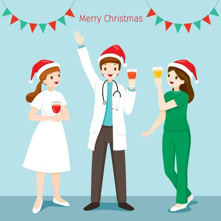 Doctor And Nurse Happy In Christmas Celebration Party, Physiology, Structure, Medical Profession, Morphology, Healthy Stock Illustratie