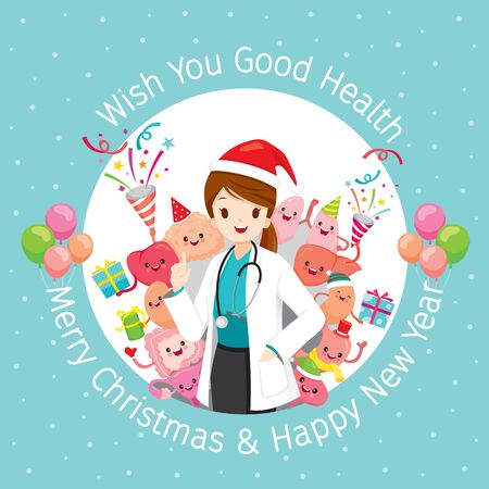 Female Doctor With Human Internal Organs, Christmas Celebration Party, Cartoon Characters Set, Physiology, Structure, Medical Profession, Morphology, Healthy