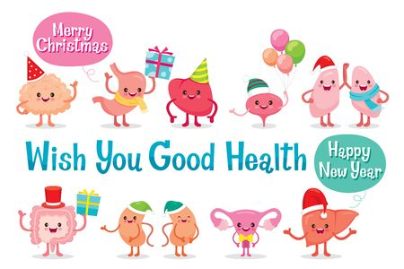 Human Internal Organs, Christmas Celebration, Cartoon Characters Funny Together, Physiology, Structure, Medical Profession, Morphology, Healthy Stock Illustratie