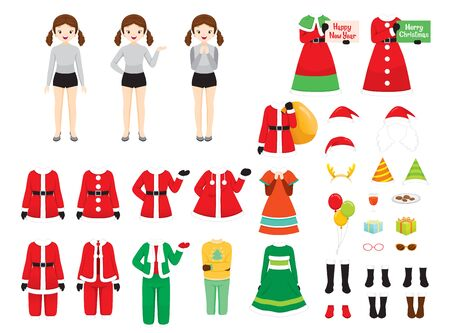 Girl With Christmas Costumes, Accessories Set, Christmas Clothes Elements, Xmas, Happy New Year, Clothing, Animals, Festive, Celebrations Stock Illustratie
