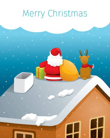 Santa Claus And Reindeer Sitting Back On Roof With Big Bag And Gift Box, Merry Christmas, Xmas, Happy New Year, Objects, Animals, Festive, Celebrations Stock Illustratie