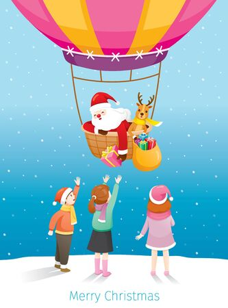 Santa Claus And Reindeer On Flying Balloon Giving Gift Box To Children, Merry Christmas, Xmas, Happy New Year, Objects, Animals, Festive, Celebrations Stock Illustratie