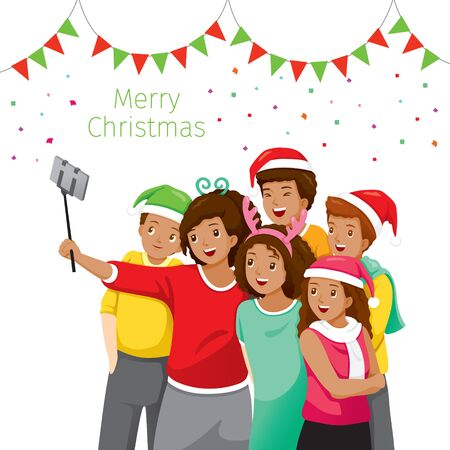 Happy Group Of Black Adolescent Taking Selfie Photo On Smartphone Together, Christmas Celebration, Merry Christmas, Xmas, Happy New Year, Objects, Festive