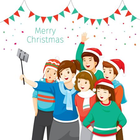 Happy Group Of Adolescent Taking Selfie Photo On Smartphone Together, Christmas Celebration, Xmas, Happy New Year, Objects, Festive, Celebrations