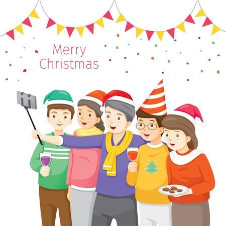 Happy Group Of Elder Taking Selfie Photo On Smartphone Together, Christmas Celebration, Merry Christmas, Xmas, Happy New Year, Objects, Festive Stock Illustratie