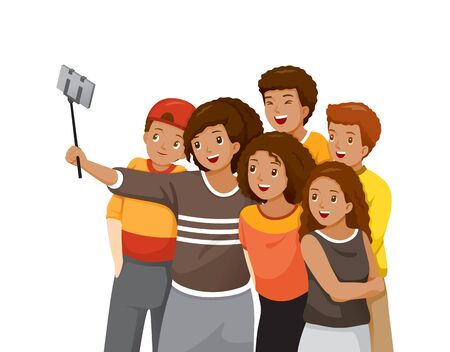 Happy Group Of Black Adolescent Taking Selfie Photo On Smartphone Together, Festive, Celebrations, Meeting Stock Illustratie