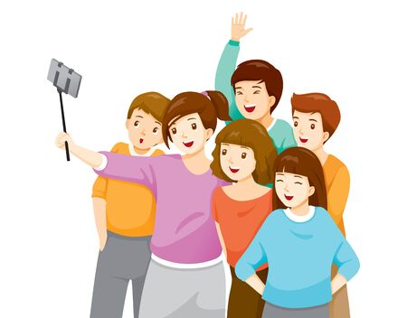 Happy Group Of Adolescent Taking Selfie Photo On Smartphone Together, Festive, Celebrations, Meeting