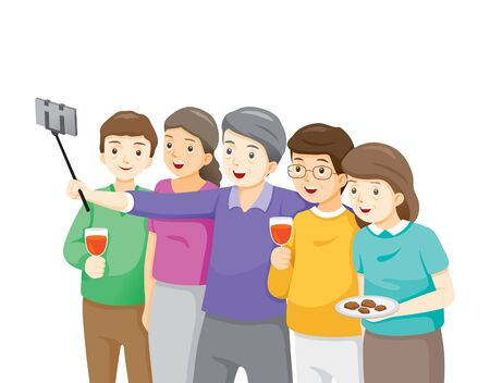 Happy Group Of Elder Taking Selfie Photo On Smartphone Together, Festive, Celebrations, Meeting
