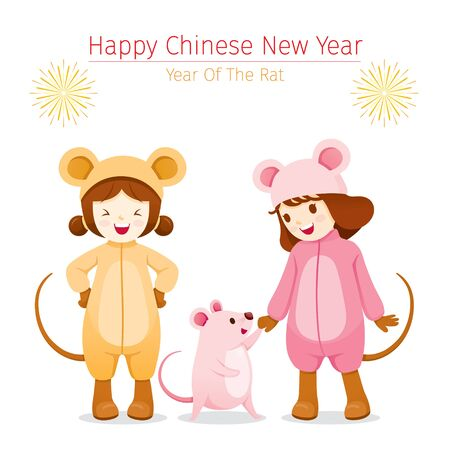 Girls In Rat Costumes With Rat, Happy, Chinese New Year 2020, Year Of The Rat, Traditional, Celebration, China, Culture Archivio Fotografico - 134352397
