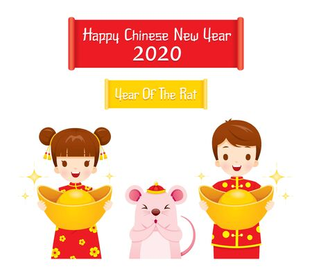 Boy And Girl In Cheongsam Holding Golds With Rat Greeting For Chinese New Year 2020, Year Of The Rat, Traditional, Celebration, China, Culture Archivio Fotografico - 134352400