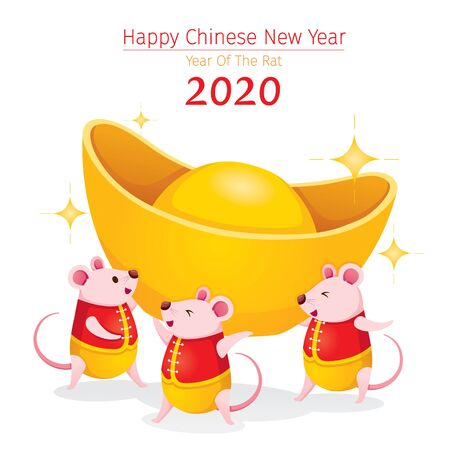 Three Rats In Chinese Clothing Carrying Big Gold Together, Happy Chinese New Year 2020, Year Of The Rat, Traditional, Celebration, China, Culture Archivio Fotografico - 134352401